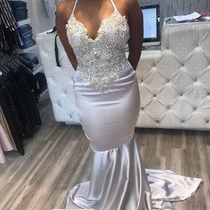 Swavorksi Diamond Silver Evening Gown